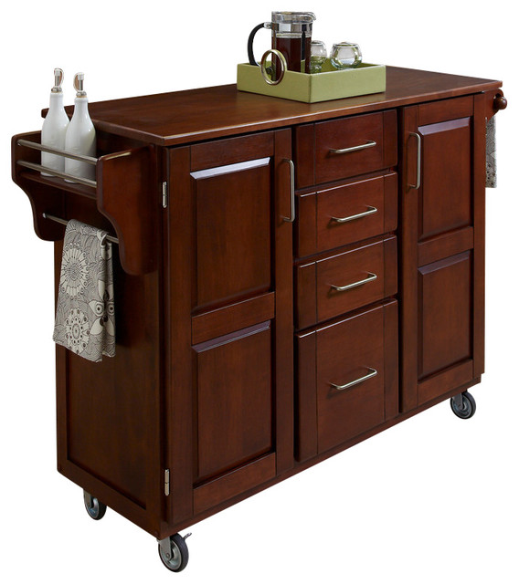 Create a Cart Cherry Finish with Oak Top Transitional Kitchen Islands And