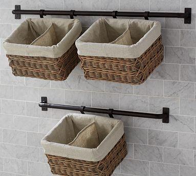 Hannah wall basket large storage system with 2 basket for Bathroom basket storage ideas