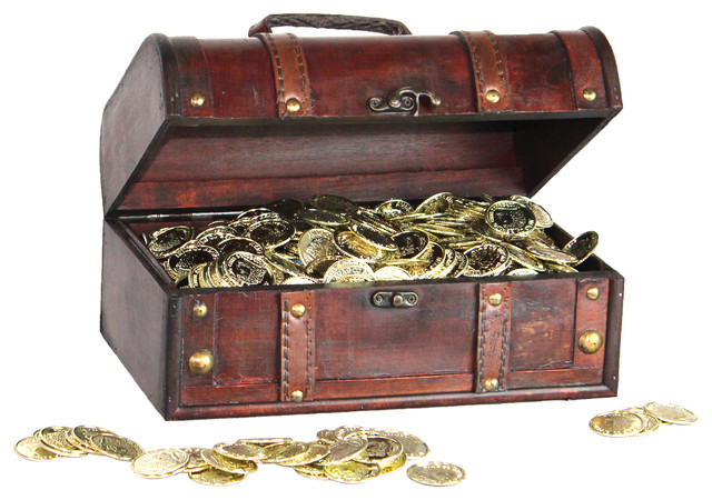 Pirate Treasure Chest With 144 Coins Rustic Accent Chests And Cabinets By Decorative Gifts