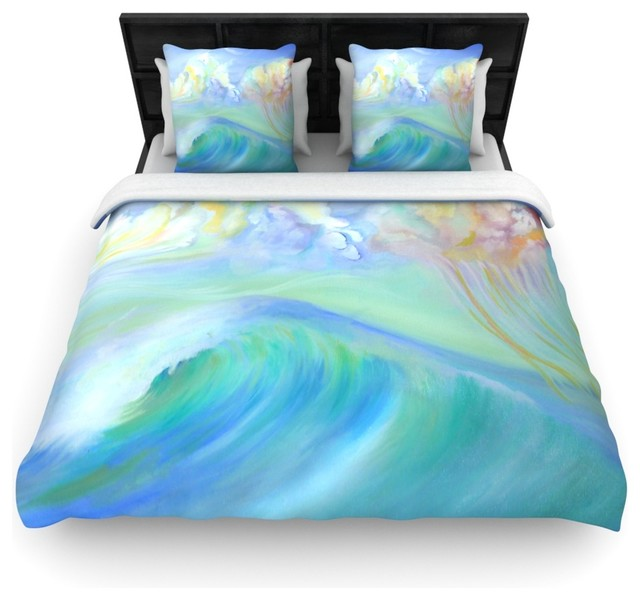 Theresa giolzetti jelly fish blue teal cotton duvet for Fish bedding twin
