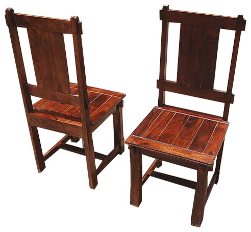 mission handcrafted side dining chairs set of 2 rustic dining chairs