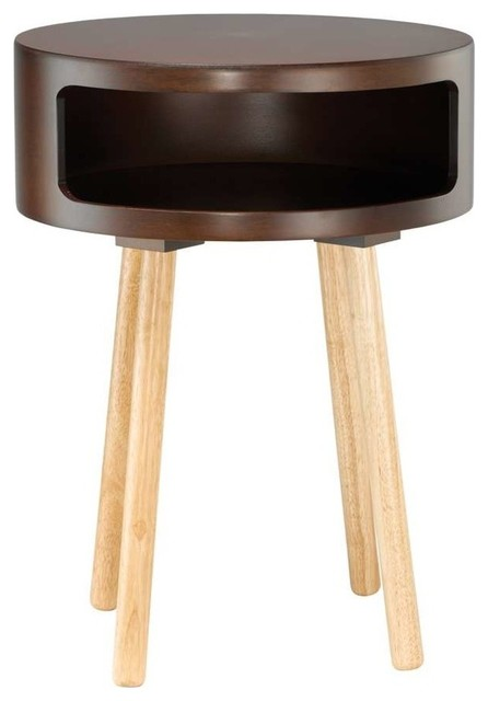 Adesso Collins Accent Table Walnut Contemporary Side Tables End Tables