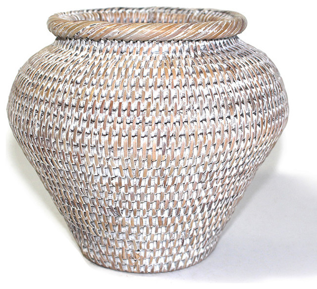 Rattan Flower Baskets : White rattan round flower basket beach style baskets