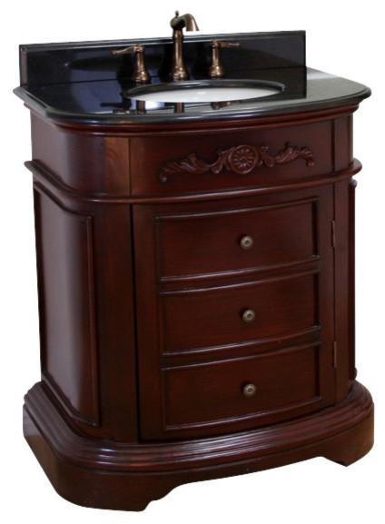 """Bellaterra 32"""" Single Sink Vanity -Wood-Dark Mahogany ..."""
