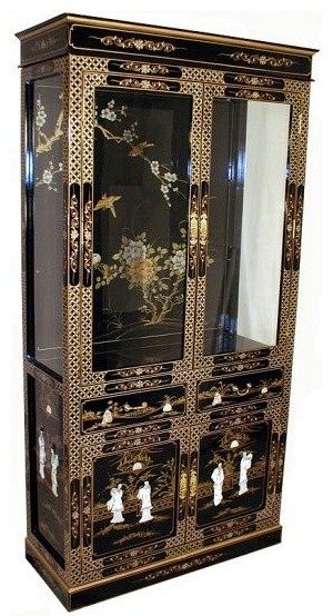 Hand Painted Chinese Lacquer Curio Cabinet - Asian - China Cabinets And Hutches - by Oriental ...