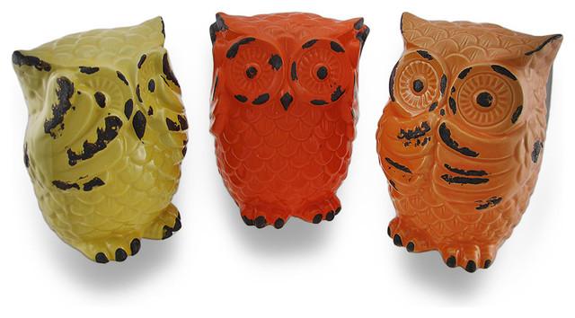 Colorful ceramic hear speak see no evil owl statues set of 3 contemporary decorative - Hear no evil owls ceramic ...