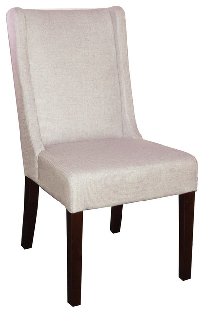 Wing Back Dining Chair In Fabric Neutral Linen Contemporary Dining Chair