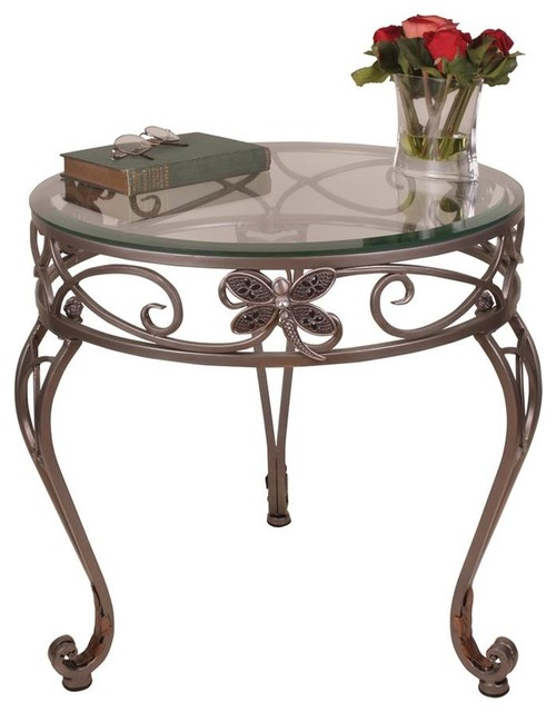 Round Table W Glass Top Traditional Coffee Tables By Shopladder