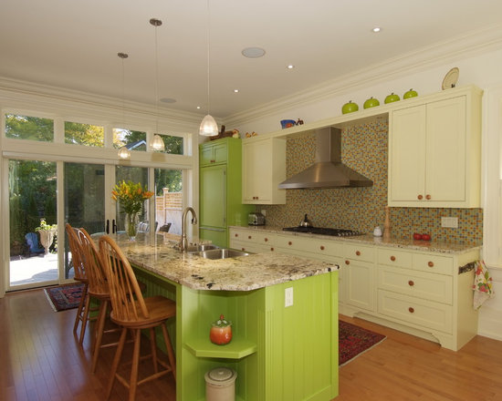Traditional Kitchen Design Ideas, Remodels & Photos with Multi-Colored Backsplash and Green Cabinets