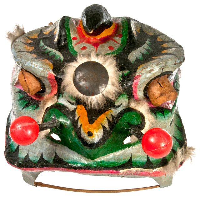 Vintage paper mach chinese lion dance costume head for Paper mache objects