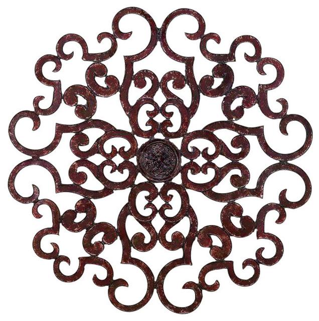 38 large brown scroll wall medallion round art metal iron swirl mediterranean metal wall. Black Bedroom Furniture Sets. Home Design Ideas