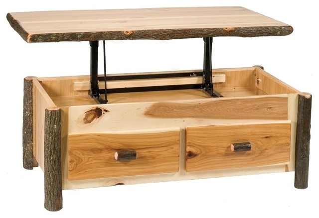 Hickory Enclosed Coffee Table W Elevating Top Contemporary Coffee Tables By Shopladder