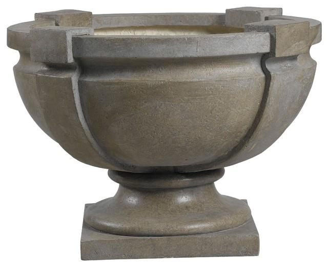 Square strap urn garden planter contemporary outdoor for Garden pots portland