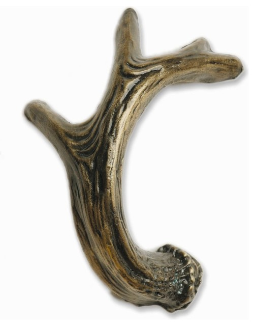 Antler Right Facing Cabinet Pull - Rustic - Cabinet And Drawer Handle Pulls - by Buck Snort ...