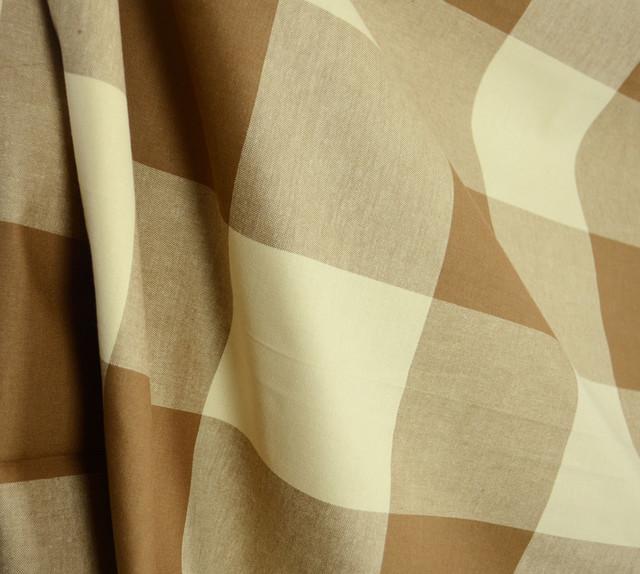 Buffalo Check Acorn Brown Cream Drapery Fabric