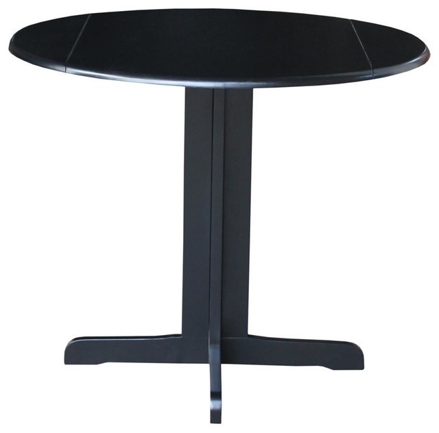 Round dual drop leaf table in black finish contemporary for Black round kitchen table with leaf