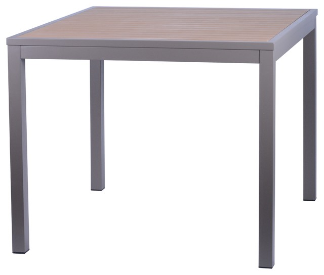 miami outdoor dining table taupe and silver 36 modern