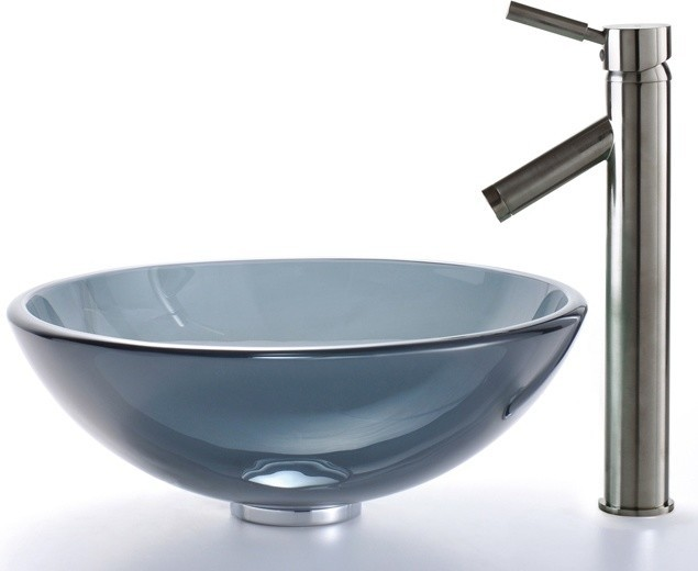 Black Glass Vessel Sink : ... Black Glass Vessel Sink and Sheven Faucet contemporary-bathroom-sinks
