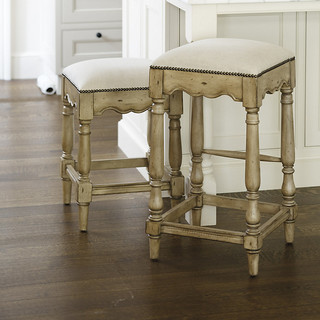 Marlow Nailhead Counter Stool Traditional Bar Stools