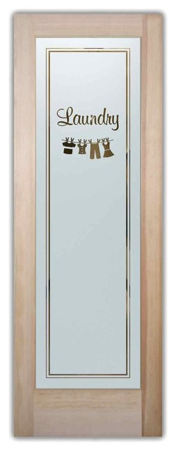Laundry room doors sandblast frosted glass clothesline for Exterior utility room door