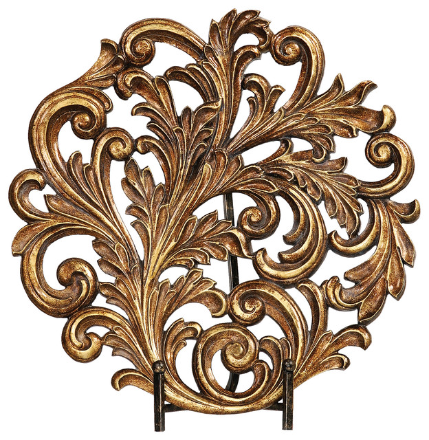 Old world tuscan acanthus leaf charger traditional for Acanthus leaf decoration