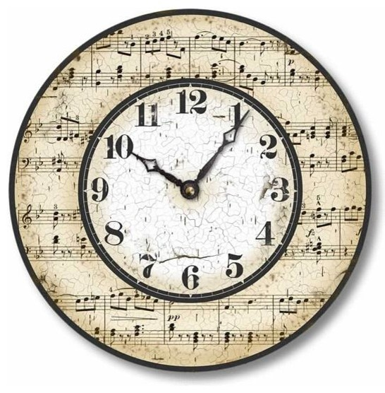 Item C2005 Vintage Style Music Notes Clock Farmhouse Wall Clocks by Fai