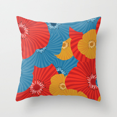 Ultra Modern Pillows : Pops of Poppies Throw Pillow - Contemporary - Decorative Cushions - toronto - by Paula Lukey Design
