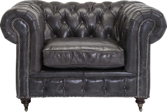 Sessel chesterfield grey traditional armchairs and for Button tufted chaise settee velvet aubergine