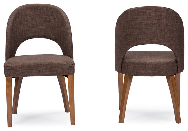 Lucas Mid Century Style Brown Fabric Dining Chair Set of  : dining chairs from www.houzz.com size 640 x 446 jpeg 55kB