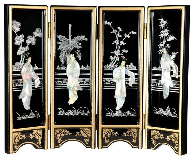 mini lacquer screens black mother of pearl ladies traditional home decor
