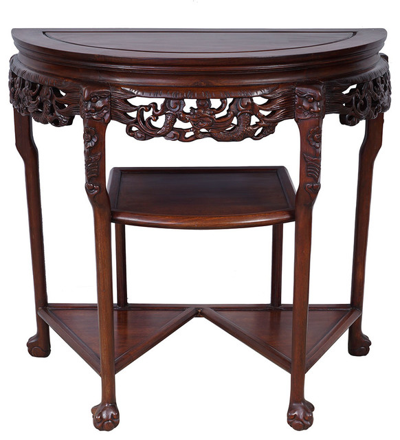 consigned antique chinese carved rosewood half moon table asian side tables and end tables. Black Bedroom Furniture Sets. Home Design Ideas