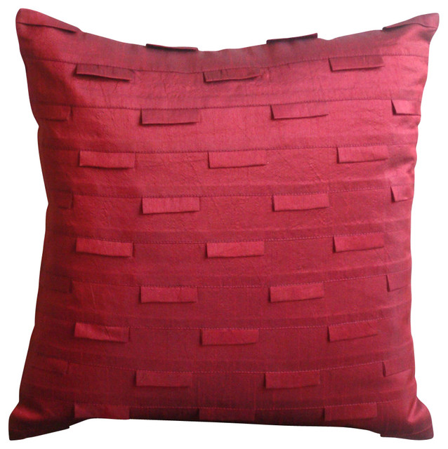 Red Silk Decorative Pillows : Ocean Decorative Deep Red Silk Throw Pillow Cover - Traditional - Decorative Pillows - by The ...