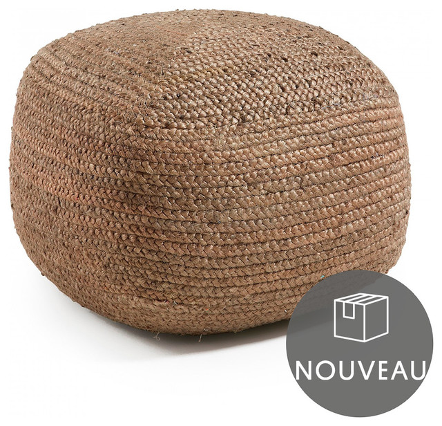 Pouf doc carr marron contemporain repose pieds pouf for Pouf contemporain