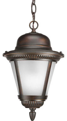 Westport Antique Bronze One Light Outdoor Pendant With Etched Seeded Glass