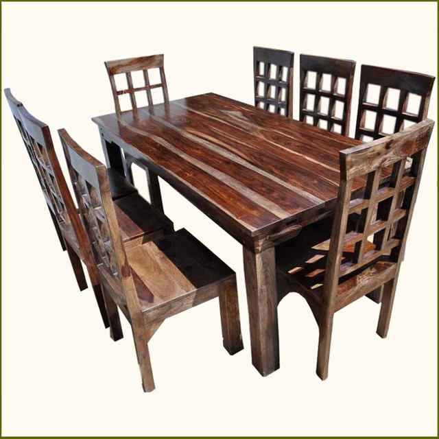 9pc Solid Rosewood Dining Table 8 Chairs Set With Extension Contempor