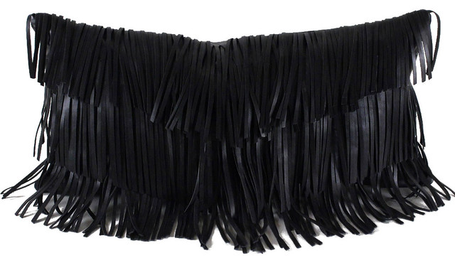 Black Throw Pillows With Fringe : Leather Fringe Pillow, Black, 9 x 18, Black, 18 x 18 - Contemporary - Decorative Pillows