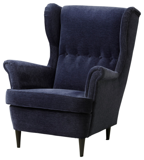 strandmon wing chair vellinge dark blue contemporary armchairs accent chairs by ikea. Black Bedroom Furniture Sets. Home Design Ideas