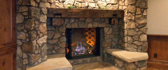 reclaimed salvaged wood beam mantel rustic fireplace