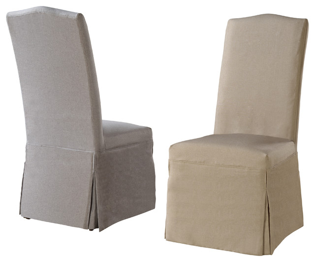 Camden Linen Chairs With Slipcovers Set of 2  : transitional dining chairs from www.houzz.com size 640 x 532 jpeg 47kB