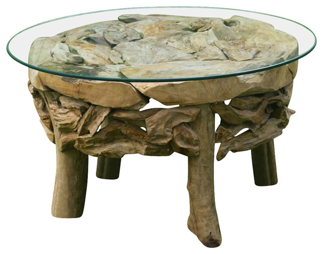 Teak Root Round Coffee Table 25619 Beach Style Coffee Tables By Gwg Outlet