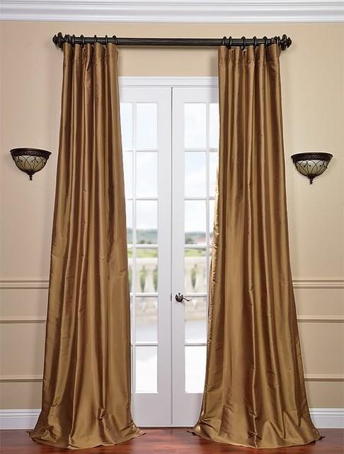 Brown Gold Thai Silk Curtains Traditional Curtains
