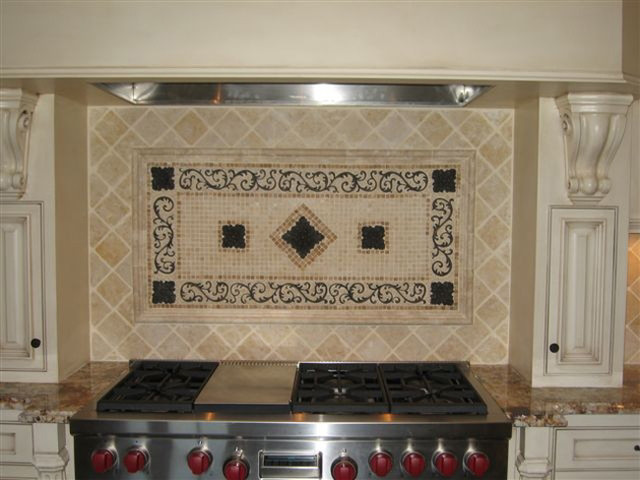 Handcrafted mosaic mural for kitchen backsplash for Backsplash tile mural