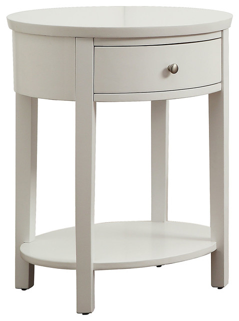 Classic bedside lamps - Anne Round Nightstand White Contemporary Nightstands