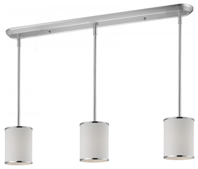 Kitchen Island Lights Houzz: Three Light Chrome White Shade Drum Shade Island Light