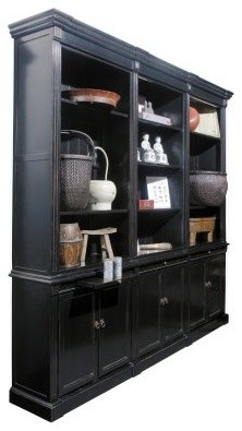 Solid Wood Triple Bookcase with Doors - Black - Modern - Bookcases ...