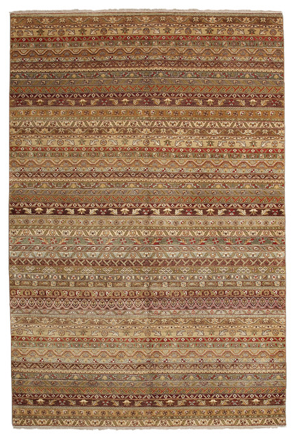 Ikat Wool Area Rug Brown 6x9 Transitional Area Rugs