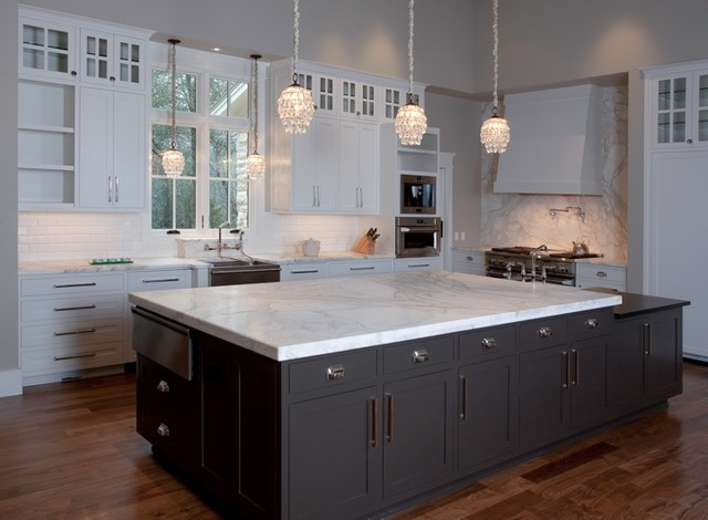 Huge Island In Calacatta Gold Marble Contemporary Kitchen Countertops