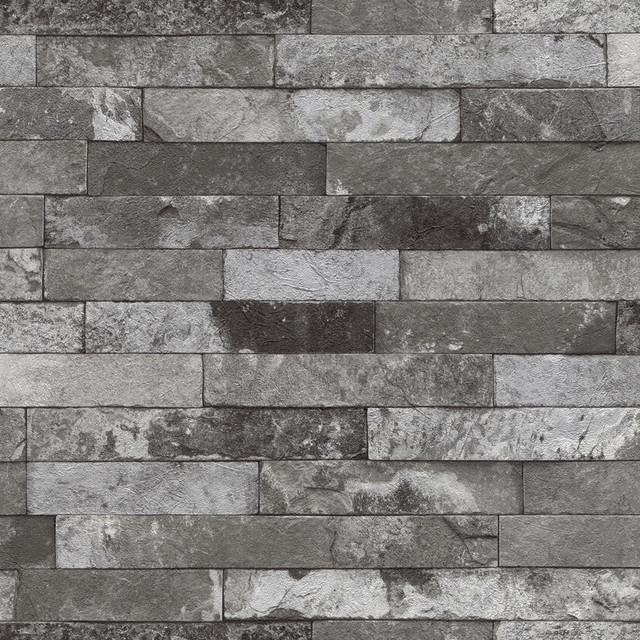 Medium gray distressed brick wallpaper wallpaper by for Distressed brick wall mural