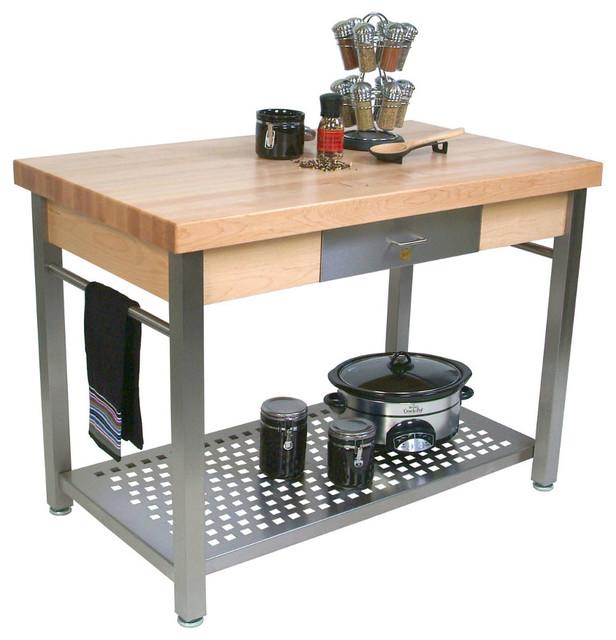 John Boos Maple And Stainless Cucina Elegante Kitchen Cart: John Boos Cucina Grande Maple & Stainless Steel Kitchen