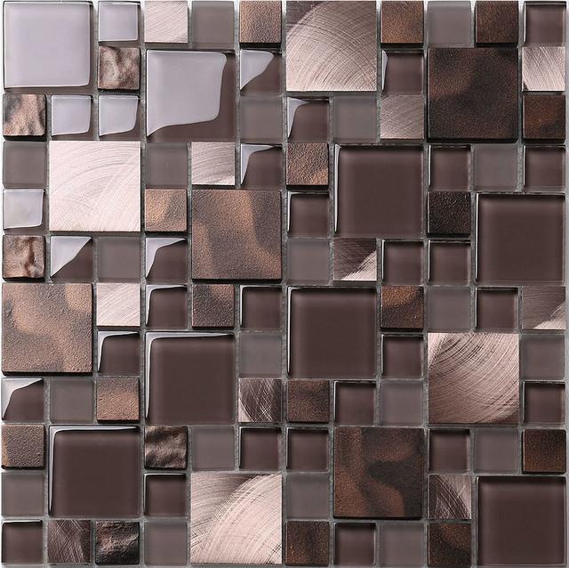 bronze metal glass mix kitchen backsplash tile contemporary tile